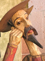 escultura de madera de Don Quijote