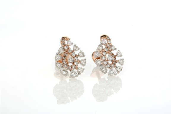 Entice Alina Collection_ All diamond ear studs in rose gold
