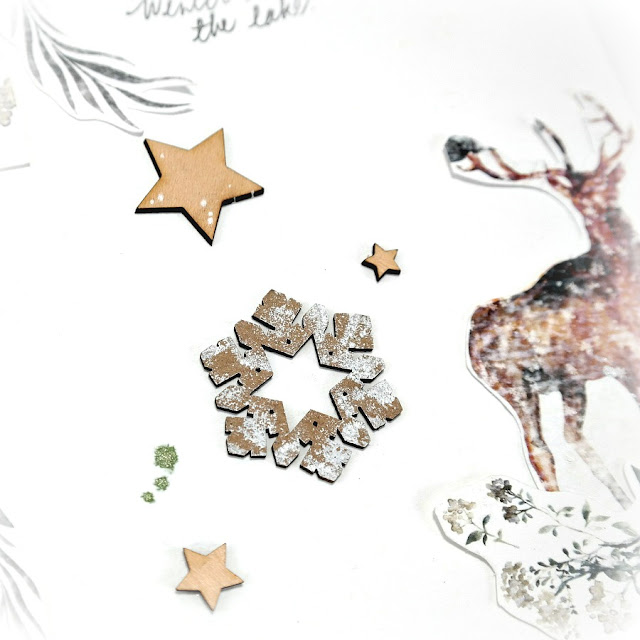 Acrylic Paint and Chalkboard Mist on Wood Veneer Stars and Chipboard Snowflakes on a Rustic Winter Scrapbook Layout