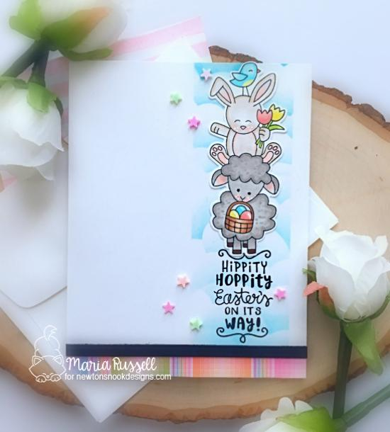 Spring Card with pile of Animals by Maria Russell| Spring Pile Up Stamp Set and Sky Borders Die Setl by Newton's Nook Designs #newtonsnook #handmade