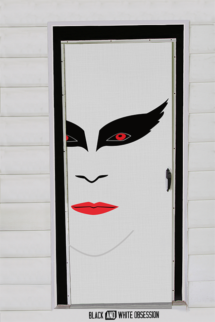 Black and White Obsession: Movie Themed, Halloween Door