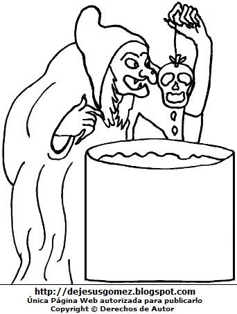 Imagen de bruja mala para colorear, pintar o imprimir. Dibujo de una bruja mala de Jesus Gómez