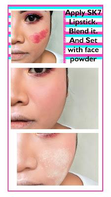 blush tutorial using lipstick