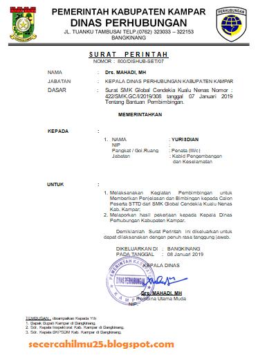 Contoh Surat Perintah Tugas yang Mengetahui Kepala Dinas