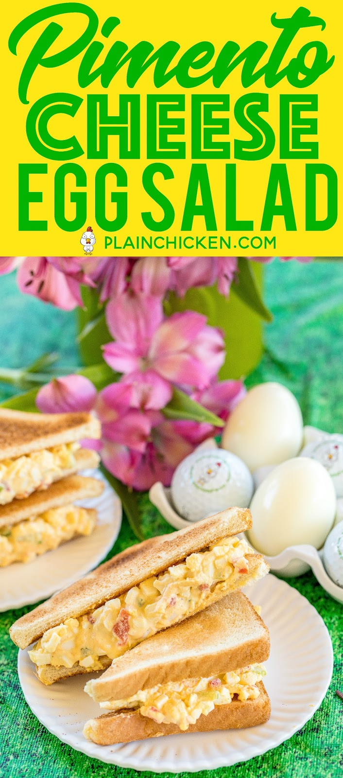 The Masters Pimento Cheese Egg Salad - the best of both worlds! Can't decide which Masters sandwich is your favorite? Combine them both into one! Seriously DELICIOUS!! Hard boiled eggs, mayonnaise, vinegar, celery, onion powder, Worcestershire sauce, cheese, pimentos. This stuff never lasts long in our house! #themasters #masters #eggsalad #pimentocheese #sandwich #hardboiledeggs