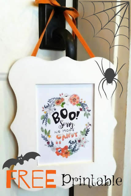 Halloween Printable, Illustration, No More Candy Sign