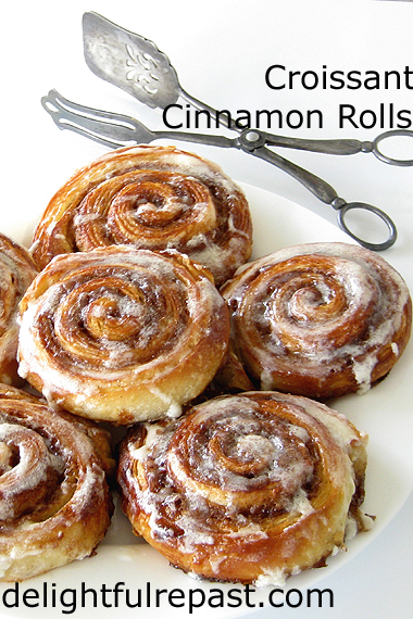 Croissant Cinnamon Rolls (this photo - rolls baked and glazed) / www.delightfulrepast.com