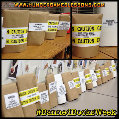Banned Books Week Classroom Display  www.hungergameslessons.com