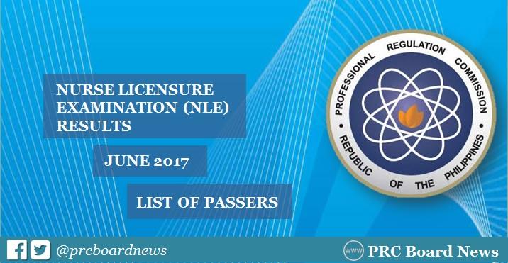 LIST OF PASSERS: June 2017 NLE nursing board exam results