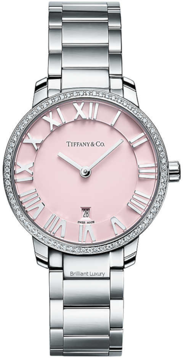 Brilliant Luxury♦Tiffany & Co. Atlas watch, pink dial with azure finishing set with round brilliant diamonds