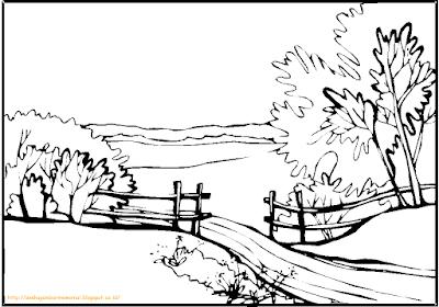Mewarnai Gambar Pemandangan Alam 1