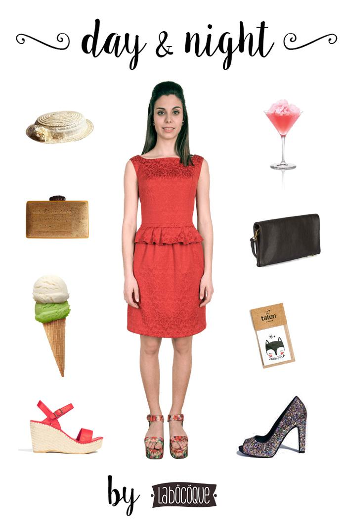 Vestido rojo corto con volante en cintura. Un vestido dos estilos. Complementos de día y de noche. Look invitada perfecta boda 2015. Look fiesta verano noche