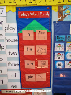 We practice sounding out words every day as whole group on this pocket chart from ReallyGoodStuff.com