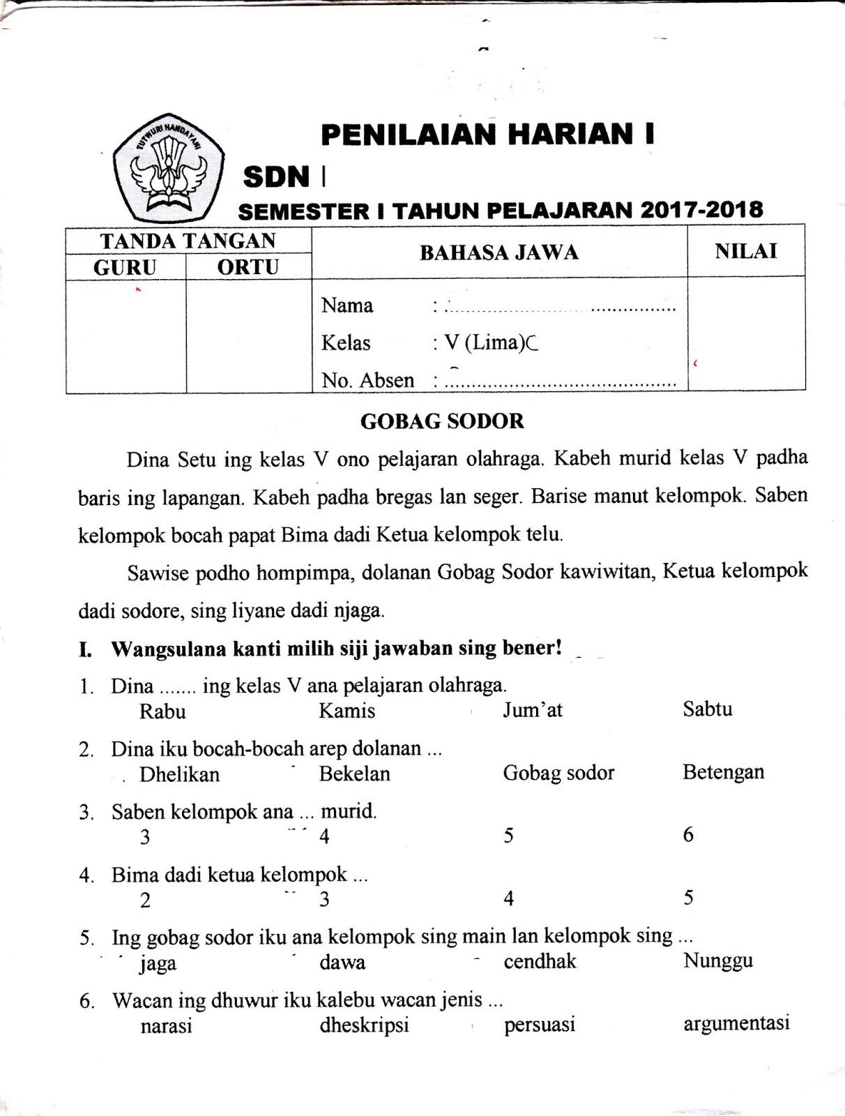 Penilaian Harian Bahasa Jawa SD Kelas 5 TA.2017/2018 ...