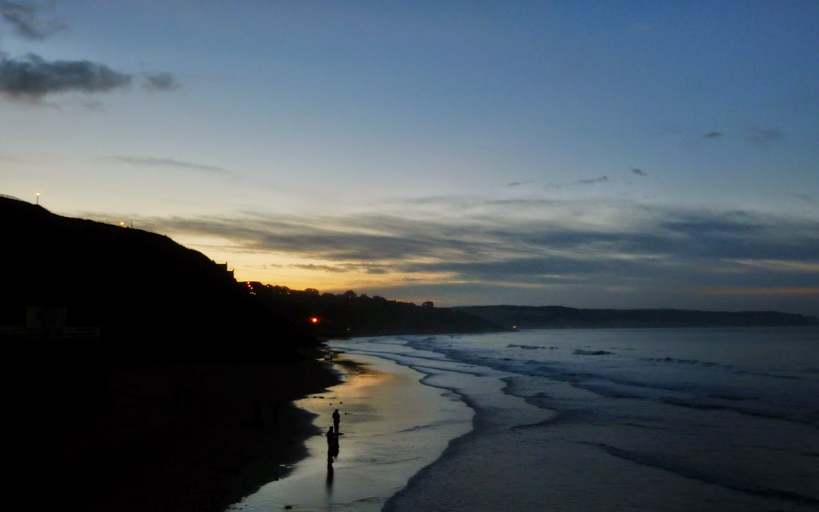 The beach, Whitby at sunset