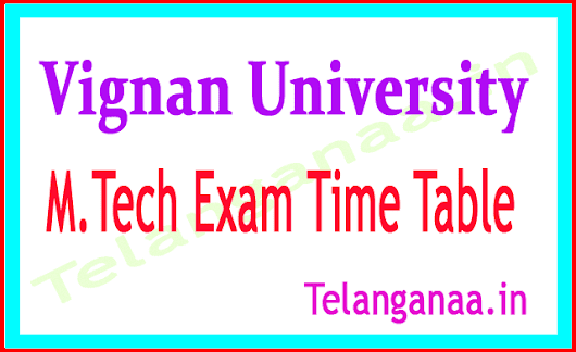 Vignan University M Tech 1st Year 1st Sem Supply 2018 Exam Time Table