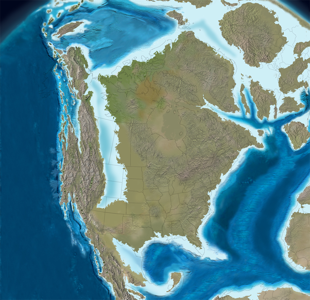 North America 100 million years ago