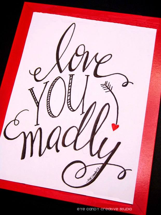 hand lettered art print, love you, gift idea, framed art print, valentines