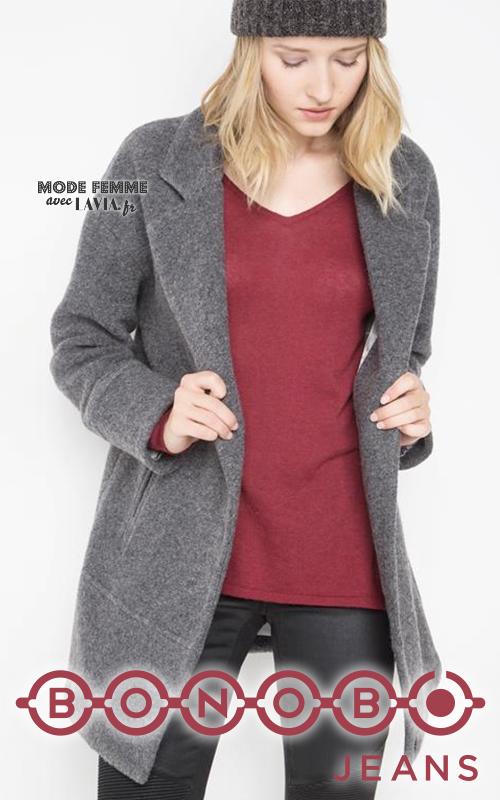 Manteau court en laine gris chiné BONOBO
