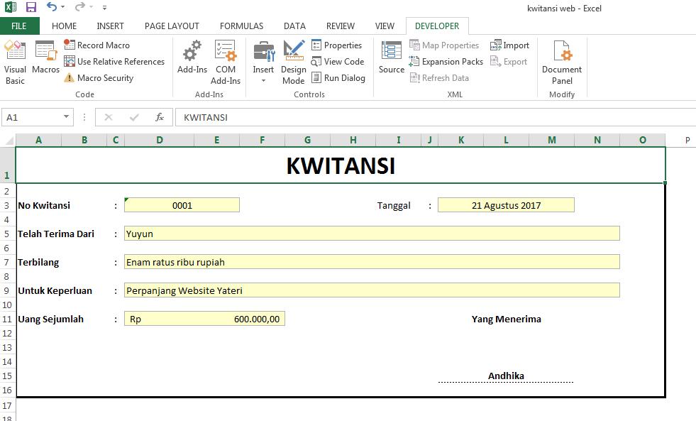 Cara Membuat Kwitansi Dengan Menggunakan Microsoft Excel