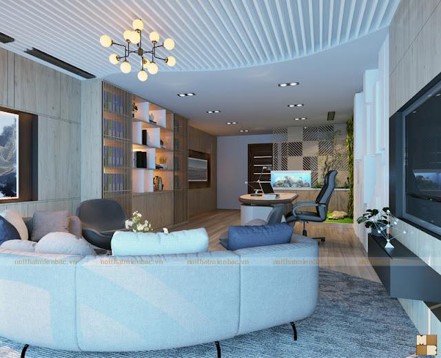 Thiết kế nội thất phòng giám đốc mang tông màu nhẹ nhàng, ấm áp tự gỗ luôn toát lên vẻ đẹp thân thiện