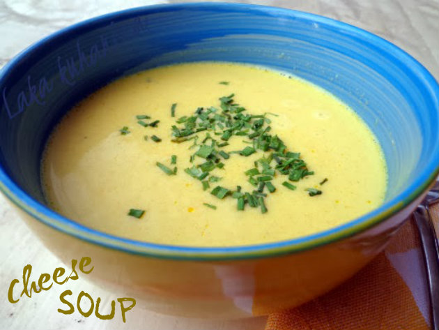 Cheese soup by Laka kuharica: deliciously thick, cheesy, creamy and smooth soup.