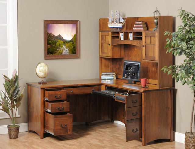 best solid wood rustic oak corner office desk with hutch for sale