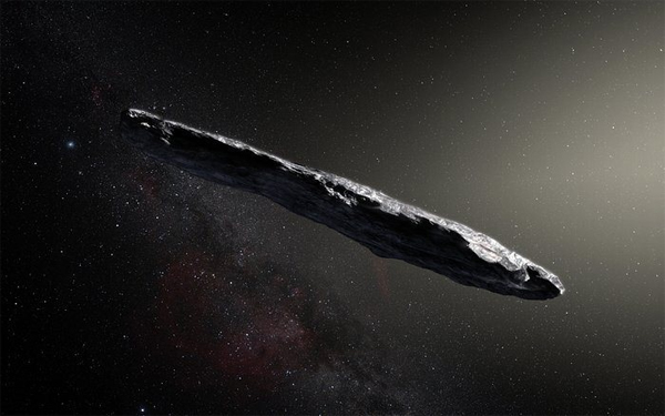 an artist's rendering of 'Oumuamua, a 'cigar-shaped' asteroid