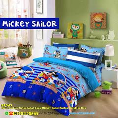 Sprei Custom Katun Lokal Anak Mickey Sailor Kartun Karakter Biru