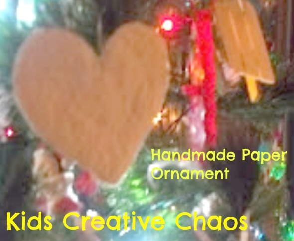 DIY Handmade Paper Pulp Heart Christmas Tree Craft Ornament