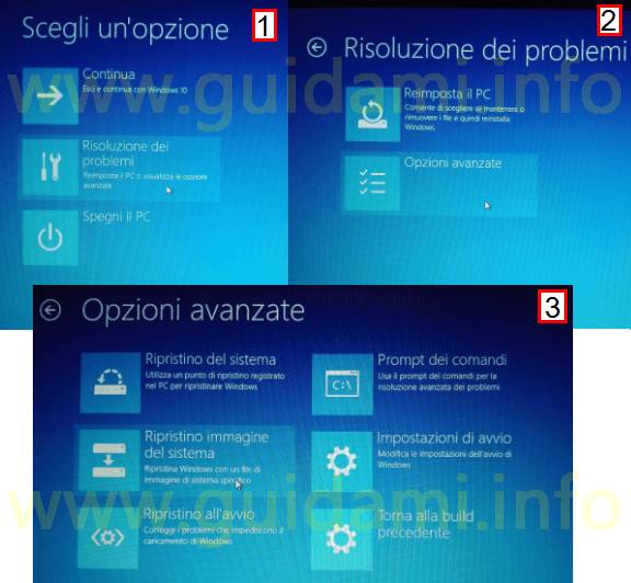 Accedere alle Opzioni avanzate di Windows 10