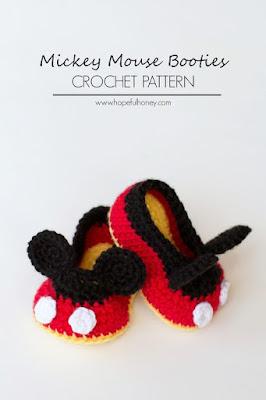 """Chaussons bébé au crochet """"Mickey Mouse"""""""