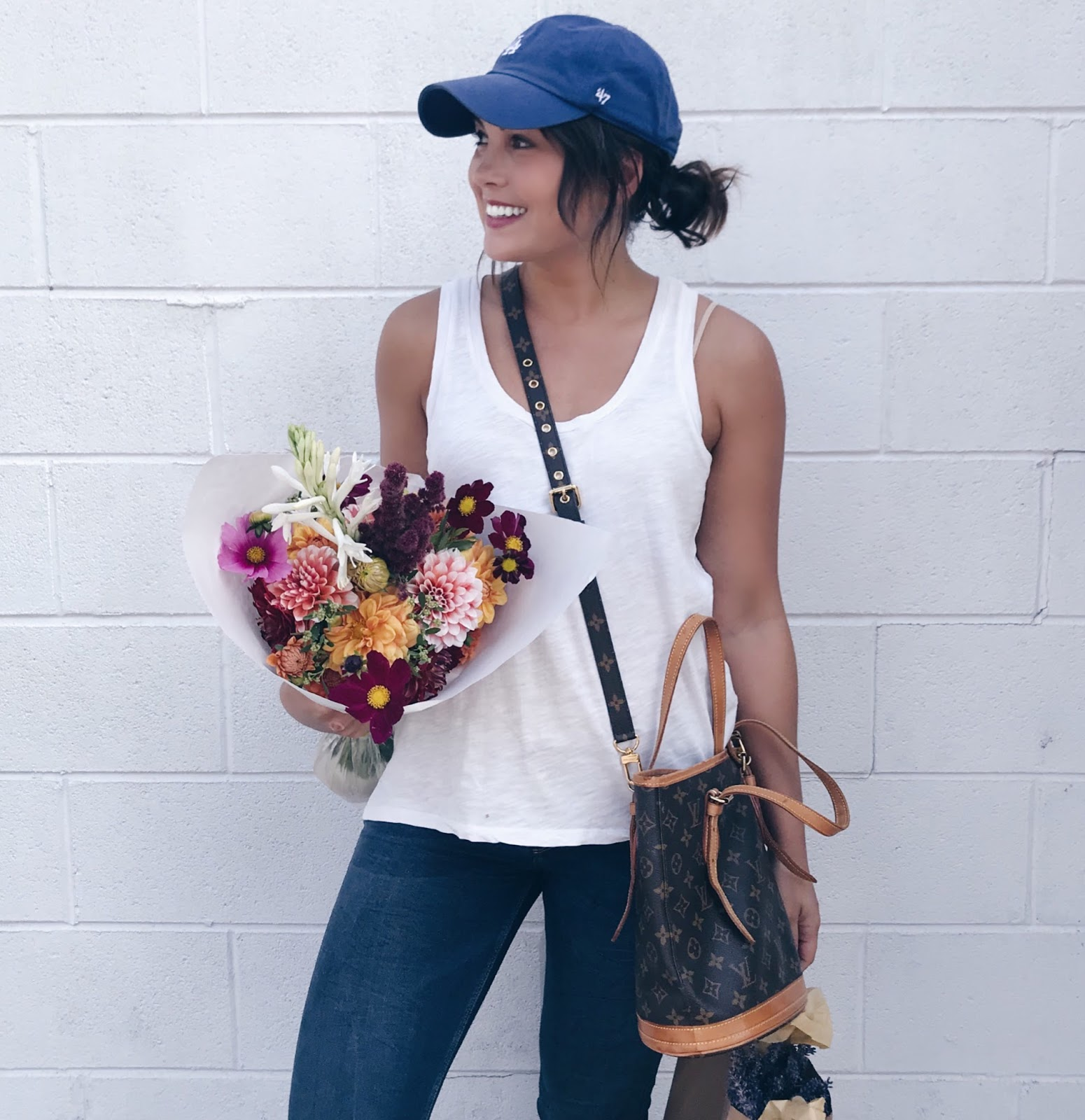 baseball hat outfit, casual style, weekend style, vintage louis vuitton