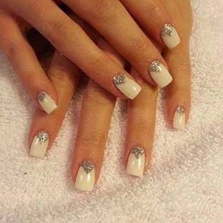 acrylic backfill led polish manicure with diamond glitz