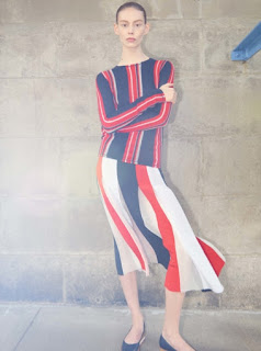 2017 Cruise Collection Gabriela Hearst red blue and white long sleeve top and over the knee skirt