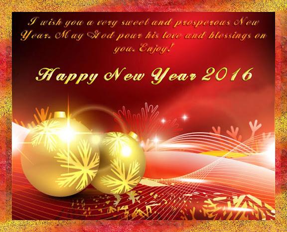 Beautiful Red New Year Greetings 2016 Card
