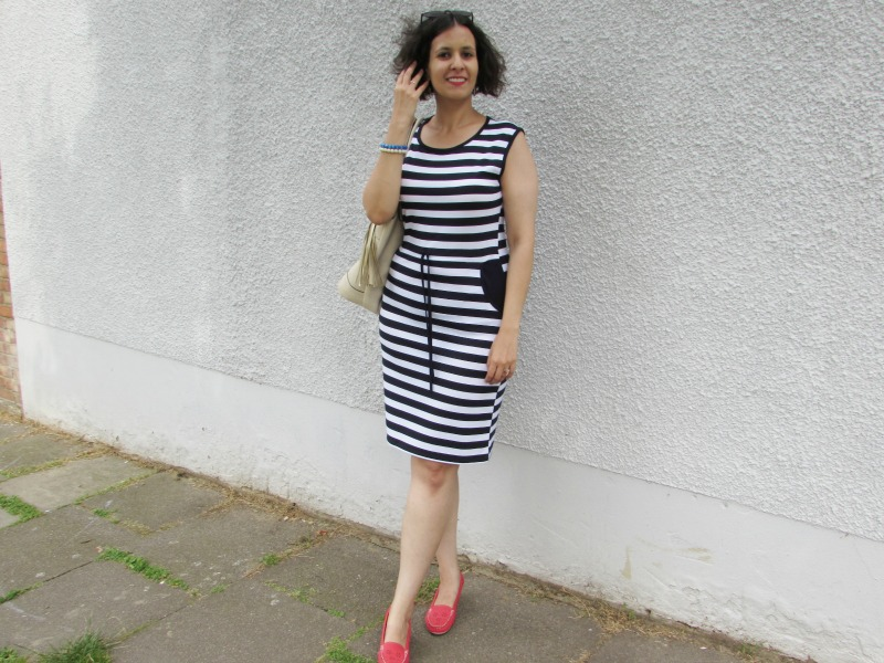 Breton dress and red shoes
