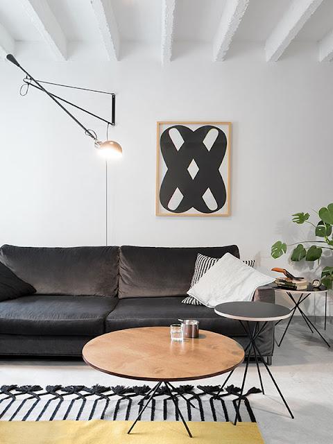 décoration salon style noir et blanc