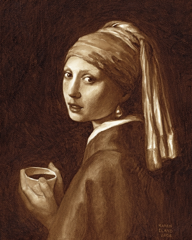 02-Johannes-Vermeer-Girl-with-a-Pearl-Earring-Karen-Eland-Coffee-and-Water-Recreate-Famous-Paintings-with-a-Difference-www-designstack-co
