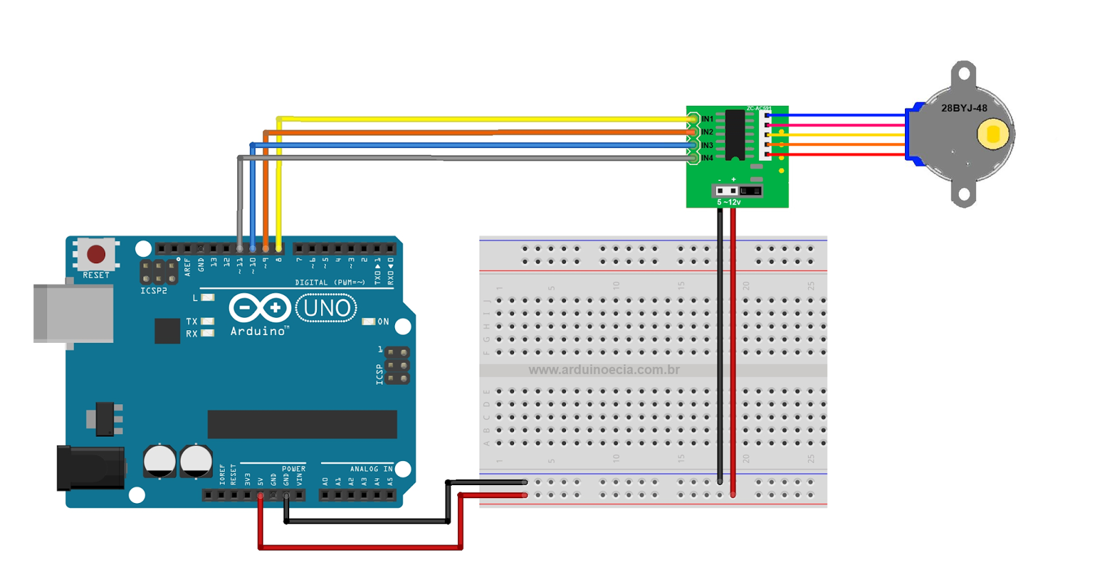 Attempted fun with engineering: Arduino library for 28BYJ48 Stepper motor and ULN2003 driver