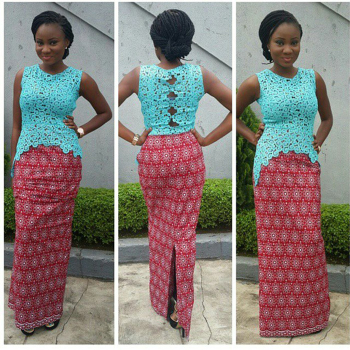 plain and pattern ankara gown (1)