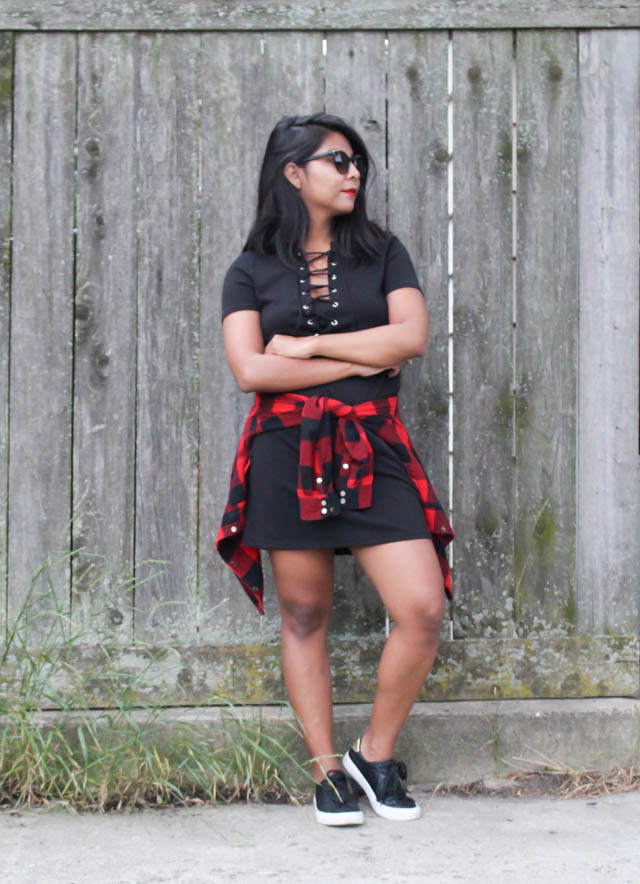 laced-up-dress-plaid-shirt