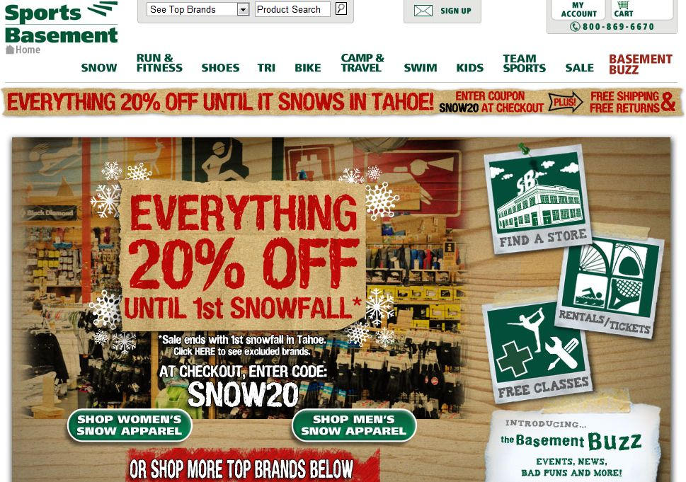 Shopalite [expired] 20% Off At Sports Basement