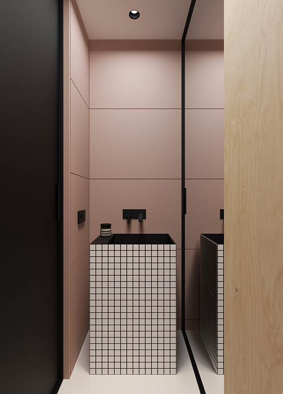 Pink, plywood, black and white grid bathroom. Gorgeous small minimalistic apartment by Emil Dervish