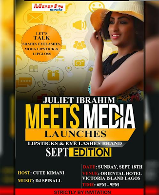 Juliet Ibrahim takes centre stage, launches lipsticks & eye lashes brand