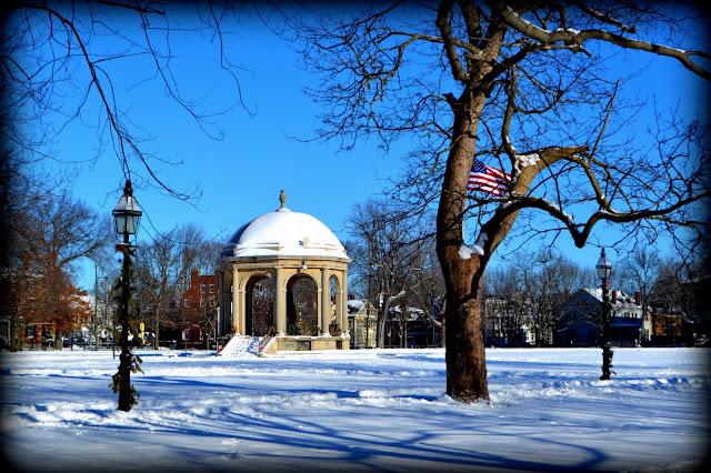 Salem Common, Salem, Massachusetts, winter, snow, shadow, gazebo