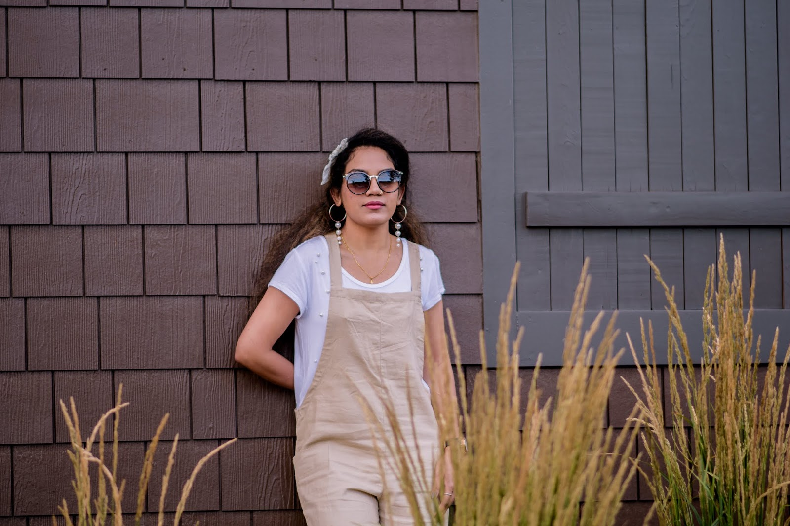 Modern Retro Style; Aim for Glam; H&M; Prasanthi Kadiyala; Altar D'state; Vintage Style; Retro Vibes; Linen Jumpsuit; Forever 21; Leopard Sunglasses; White Love; Summer Style;