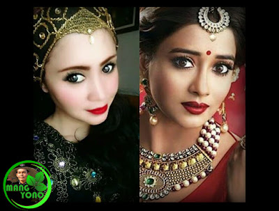 Sebelah kiri Neng Chaca (olive) penari Jaipong dari Batam. Sebelah kanan Tina Dutta pemeran Ichcha Uttaran