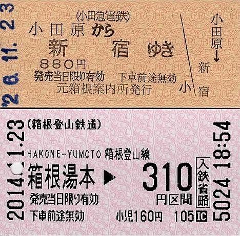 小田急電鉄 元箱根案内所発行硬券乗車券(小田原→新宿)