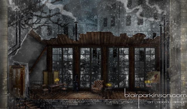 Design for La Boheme Act 1